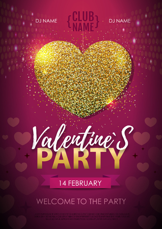 Happy Valentines day disco party poster. Golden sparkle love heart symbol