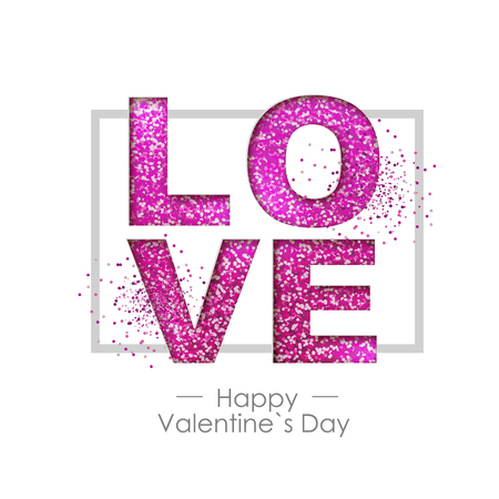 Happy valentines day background with love heart. Typgraphy greeting card design 스톡 콘텐츠 - 117297472