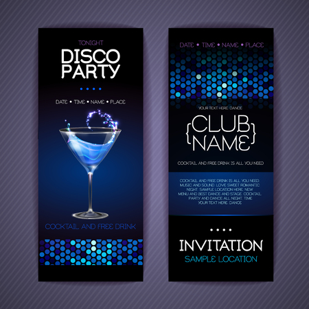 Disco invitation to cocktail party. Document template design