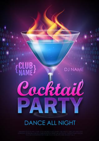 Disco cocktail party poster vector illustration Иллюстрация