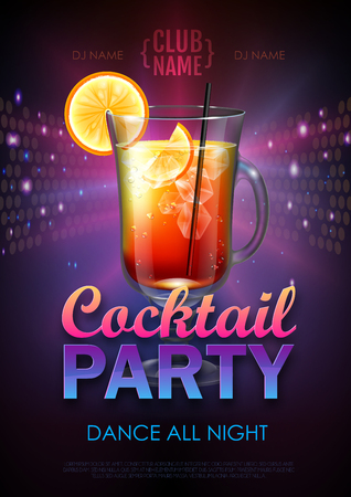 Disco cocktail party poster vector illustration  イラスト・ベクター素材