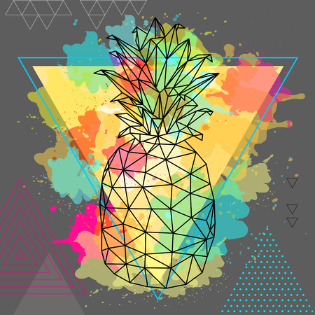Hipster polygonal tropic fruit pineapple on artistic triangle watercolor background Stockfoto - 119911169