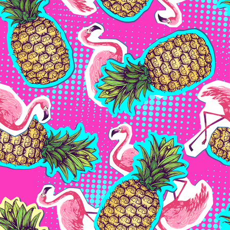 Summer seamless bright pattern with flamingo and pineapple. Zine Culture style summer background