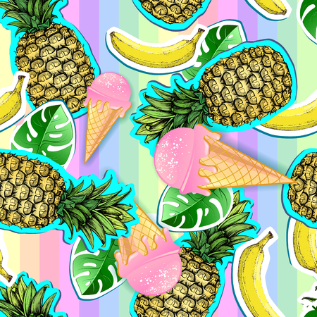 Summer seamless bright pattern with pineapple and banana. Zine Culture style summer background