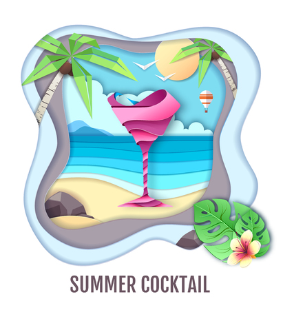 Tropic cocktail on the sea beach. Paper cut out art style design
