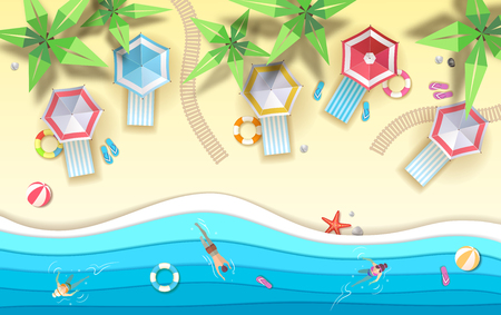 Top view of tropic summer beach with ocean background. Paper cut out art design Zdjęcie Seryjne - 120384393