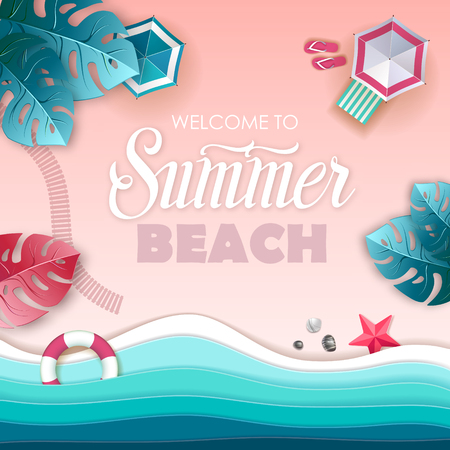 Top view of tropic summer beach with ocean background. Paper cut out art design Vector Illustration