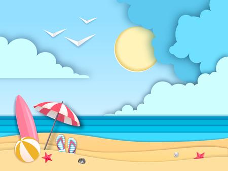 Sea or ocean landscape cut out paper art style design