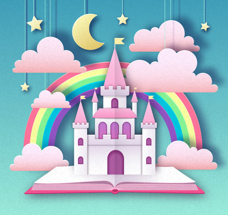 Fairy tale book with castle and rainbow. Cut out paper art style design. Origami Illustration