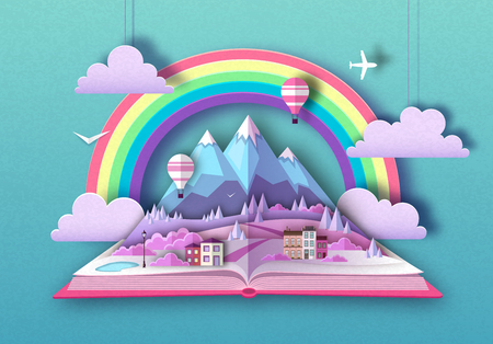 Open fairy tale book with countryside mountains landscape. Cut out paper art style design Illustration