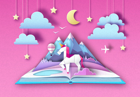 Open fairy tale book with unicorn and mountain landscape. Cut out paper art style design Banque d'images - 120439595