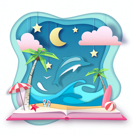 Open fairy tale book with dolphin and tropic beach landscape. Cut out paper art style design