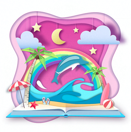 Open fairy tale book with dolphin and tropic beach landscape. Cut out paper art style design 矢量图像