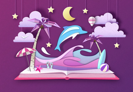 Open fairy tale book with dolphin and tropic beach landscape. Cut out paper art style design Çizim