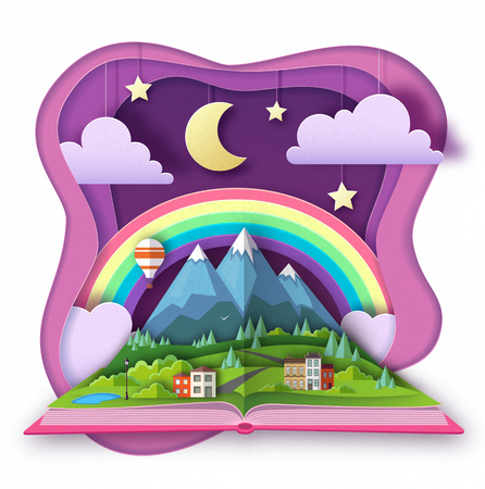 Open fairy tale book with countryside mountains landscape. Cut out paper art style design