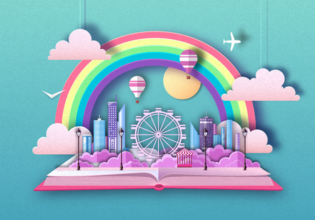 Open fairy tale book with city landscape and ferris wheel. Cut out paper art style design