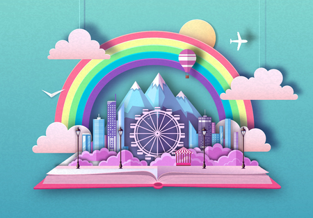 Open fairy tale book with city landscape, ferris wheel and mountains. Cut out paper art style design