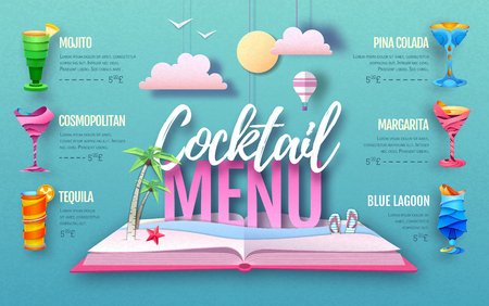 Cocktail menu design. Cut out paper art style design. Origami
