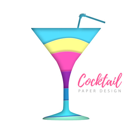 Cocktail cosmopolitan silhouette. Cut out paper art style design.
