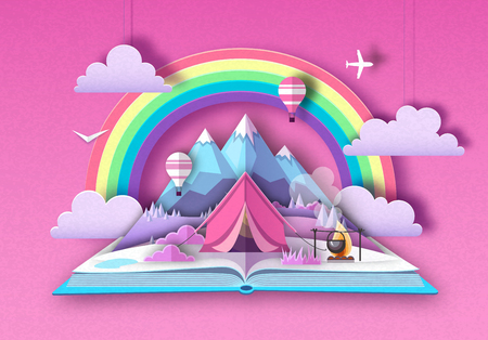 Open fairy tale book with mountains and camping. Cut out paper art style design  イラスト・ベクター素材