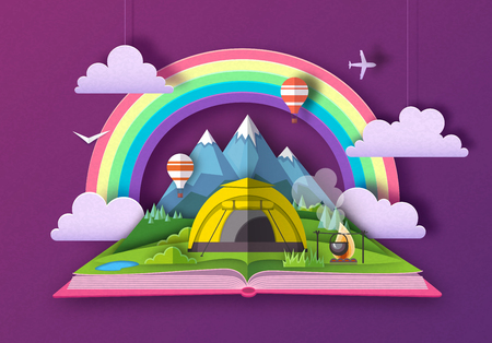 Open fairy tale book with mountains and camping. Cut out paper art style design Stok Fotoğraf - 121880070