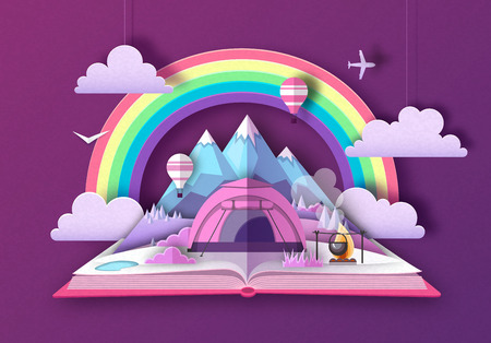 Open fairy tale book with mountains and camping. Cut out paper art style design Illustration