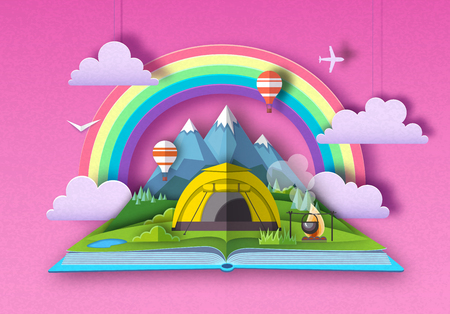 Open fairy tale book with mountains and camping. Cut out paper art style design Ilustrace