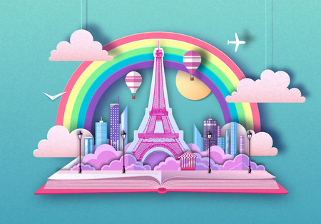 Open fairy tale book with Paris landscape and Eiffel Tower. Cut out paper art style design Ilustrace