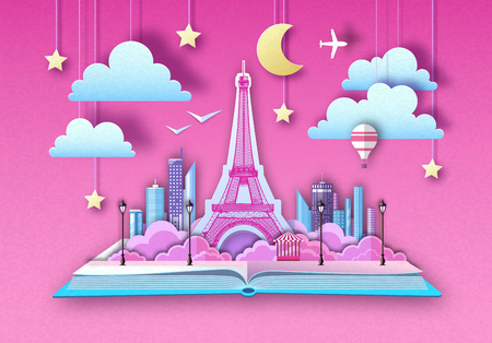 Open fairy tale book with Paris landscape and Eiffel Tower. Cut out paper art style design Illustration