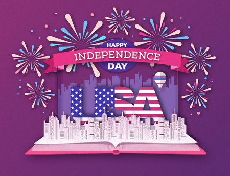 Holiday fairytale book with city landscape and holiday firework. Inependence day. Cut out paper art style design