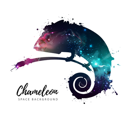 Artistic silhouette of animal chameleon on open space background.