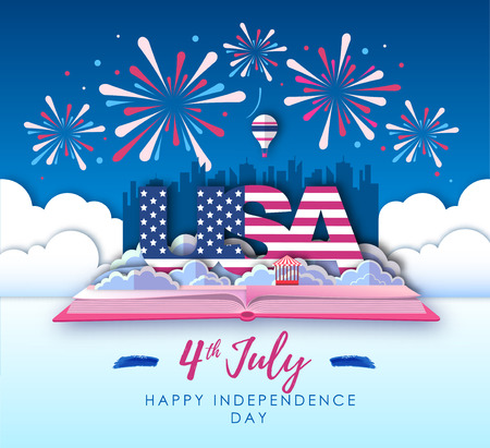 Vector illustration of America Independence day. Holiday firework. Cut out paper art style design