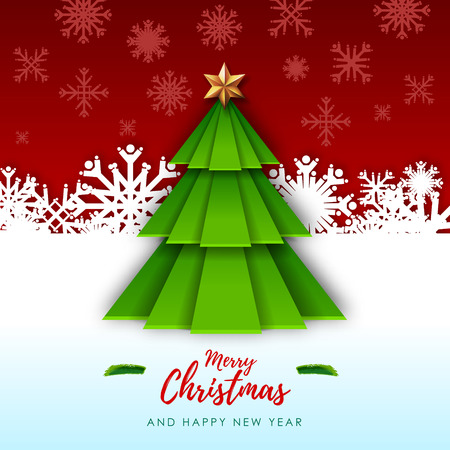 Merry Christmas greeting card with christmas tree. Origami. Cut out paper art style design Иллюстрация