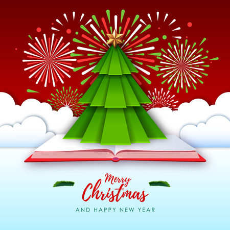 Merry Christmas greeting card with holiday firework. Origami. Cut out paper art style design