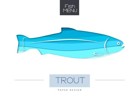 Vector illustration of Fish trout silhouette. Cut out paper art style design. Illusztráció