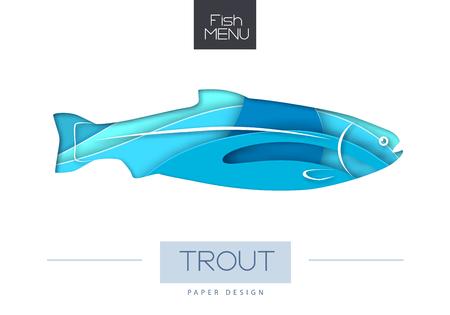 Vector illustration of Fish trout silhouette. Cut out paper art style design. Ilustração