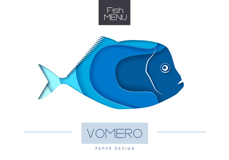 Vector illustration of Fish vomero silhouette. Cut out paper art style design.