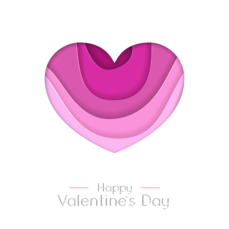 Happy Valentines day greeting card with love heart silhouette. Cut out paper art style design