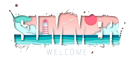 Summer typography poster with beach and ocean waves. Cut out paper art style design Ilustração