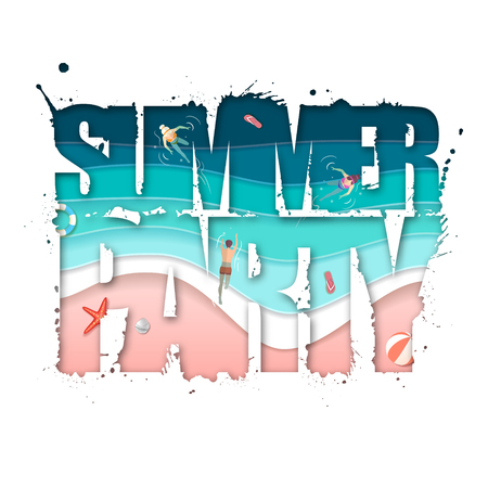 Summer party typography poster with beach and ocean waves. Cut out paper art style design Ilustração