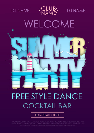 Summer disco party typography with beach and ocean waves. Cut out paper art style design