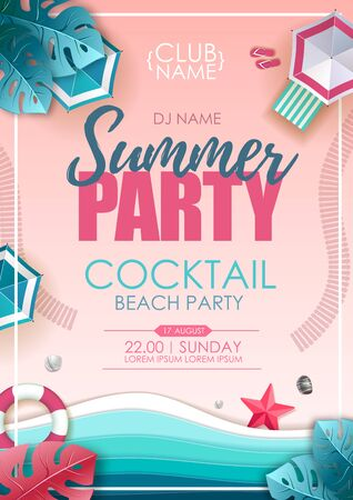 Summer beach party poster. Top view of tropic summer beach with ocean background. Paper cut out art design