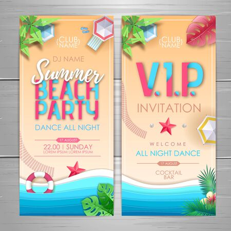 Summer party poster design. Disco party invitation design. Top view of tropic summer beach with ocean background. Illustration