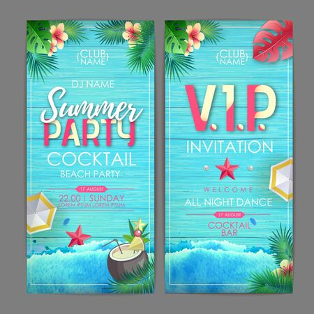Summer cocktail party poster design. Disco party invitation design on wooden grunge background with tropic leaves