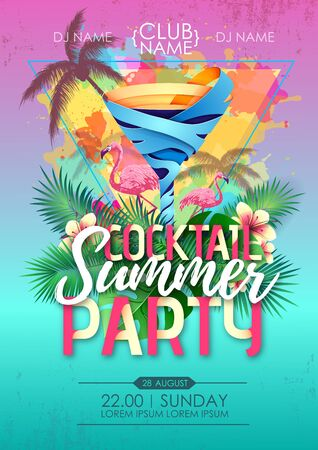 Summer beach party disco poster with cocktail and tropic leaves