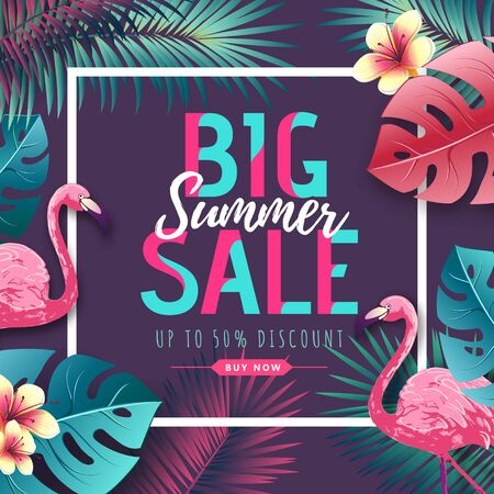 Summer big sale typography poster with flamingo and tropic leaves. Nature concept Ilustración de vector