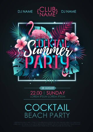 Summer cocktail disco party poster with flamingo and fluorescent tropic leaves. Nature concept