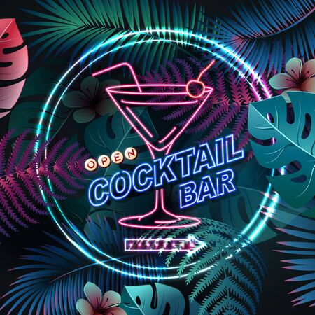 Neon sign cocktail bar on fluorescent tropic leaves background. Vintage electric signboard.