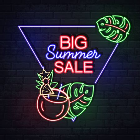 Neon sign big sale with tropic leaves and cocktail. Vintage electric signboard.