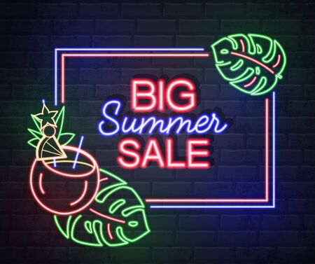 Neon sign big summer sale with fluorescent leaves and flamingo. Vintage electric signboard.